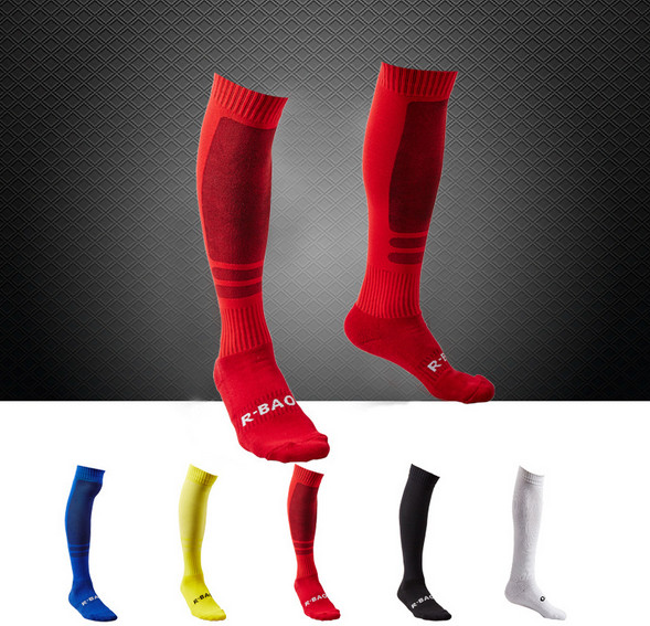 NEW High Quality Men's Football Soccer Socks 39to43 Thicken Combed Cotton Towel Above Knee Tube Durable Stockings Sports 5colors(China (Mainland))