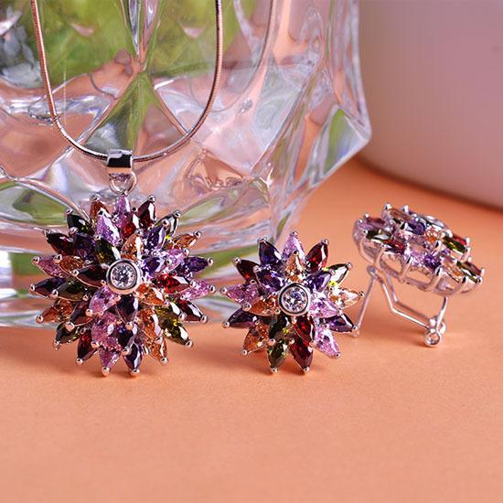African Flowers Wedding Jewelry Sets Colares Bijuterias Necklace Pendant & Violetta Brinco Pendientes Brincos Indian Jewelry UK