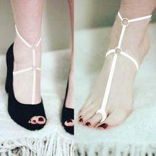 Sexy delle donne di Alta Tallone Del Piede Decorazione Della Fasciatura Causale Multi Colori Del Piede Del Piede Cintura Pezzo A Piedi Nudi Sandalo Scarpa Fetish Cage Harness(China)