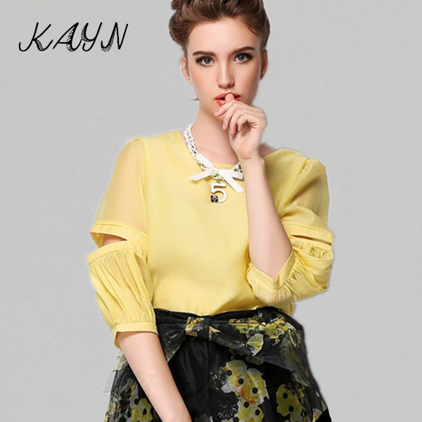 Summer Style 2015 New Womens Elegant Fashion Brand Organza Shirts Chiffon Hollow Sleeve Solid Casual Party Blouses Necklace - KAYN Boutique Women Clothing store