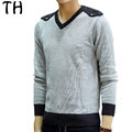 Spring Winter Patchwork Casual Tops Long Sleeve V neck Fashion Slim Fit Pullover Men Sweater Knitwear