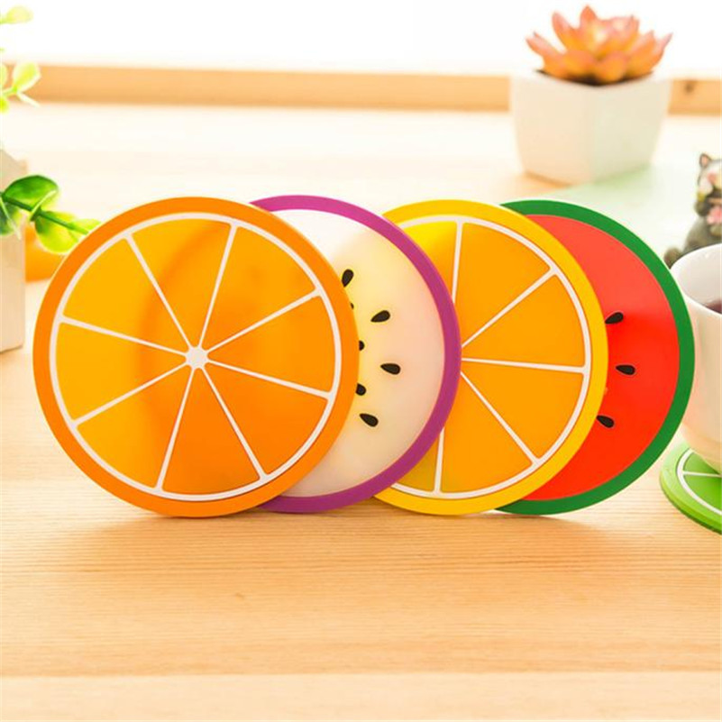 1pv Fruit Coaster Colorful Silicone Cup Drinks Holder Mat Tableware Placemat free shipping A50 wholesale(China (Mainland))