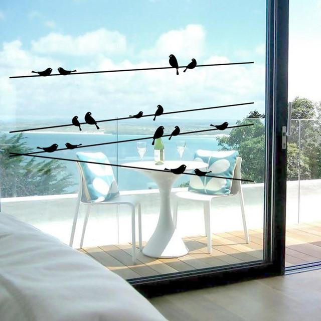 Creative bande dessinée poteau oiseaux Stickers muraux Stickers verre de la maison affiche adhésif fenêtre bricolage 3D originale décoration Adesivo