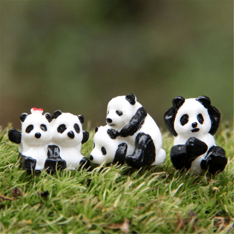 3pcs/set Cute Cartoon PVC Animals World Giant Panda with Baby Staric Model Plastic Action Figures Toys Gift for Kids(China (Mainland))