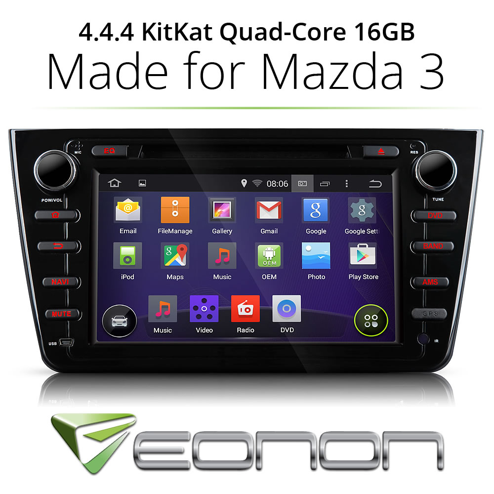 """Android 4.4 8"""" Car Stereo DVD Player GPS for Mazda 6 2008 2009 2010 2011 2012(China (Mainland))"""