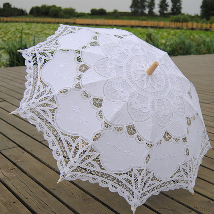 Free Shipping Cotton Lace Parasol Umbrella Embroideried Umbrella Wedding Photography Props Decorative Crocheted Umbrella(China (Mainland))