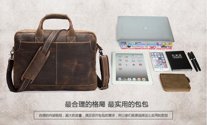 2017 Men Briefcase Business Shoulder Bag Leather Messenger Bags Computer Laptop Handbag Bag Men's Travel Totes Messenger Bags