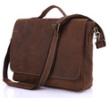 Nesitu Vintage Brown 100 Genuine Leather Thick Crazy Horse Leather Men Messenger Bags Briefcase 14 Laptop