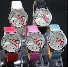 Promotion 1 Pcs Hello Kitty Watch Children Girls Woman Dress Fashion Quartz Wrist Watch, 5 Colors Available