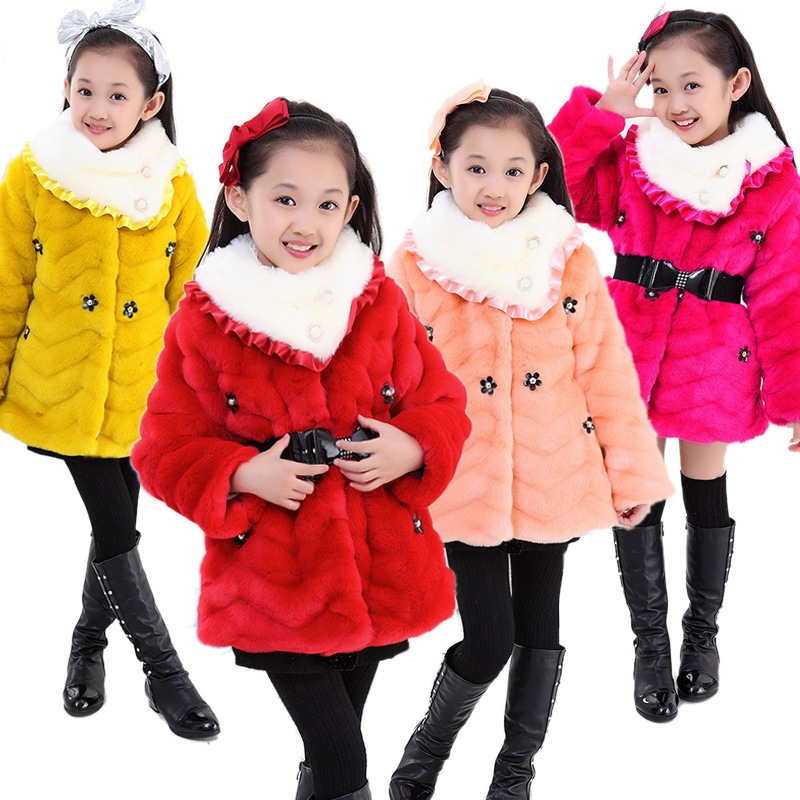 winter coats for teenage girls faux fur caps girls long coats winter kids clothing children jackets thicken baby clothes jackets