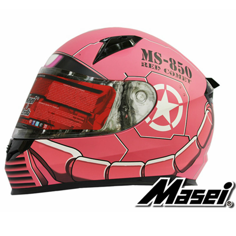 MASEI 850 Pink zaku full face helmet motorcycle helmet mens womens helmet ABS high quality racing DOT ECE approved helmet(China (Mainland))