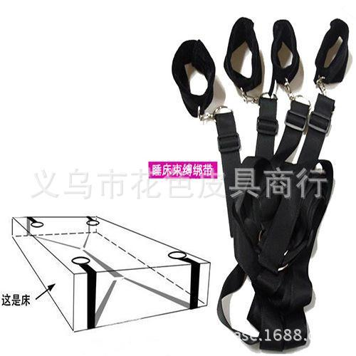 Handcuffs and leg irons fun sexy suit with a black bed bed bondage straps straps(China (Mainland))