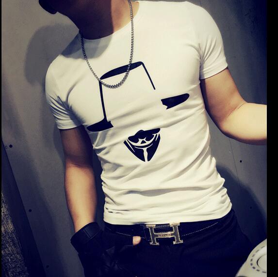 New Mens T-Shirt 2016 Summer Listing Fashion Casual V for Vendetta character Printed Man's Slim Fit Short-Sleeve T Shirt(China (Mainland))