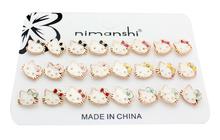 2016 nuovi accessori dei monili ciao kitty orecchini in oro set di 12 pairs all'ingrosso ciliegia e fiori(China (Mainland))