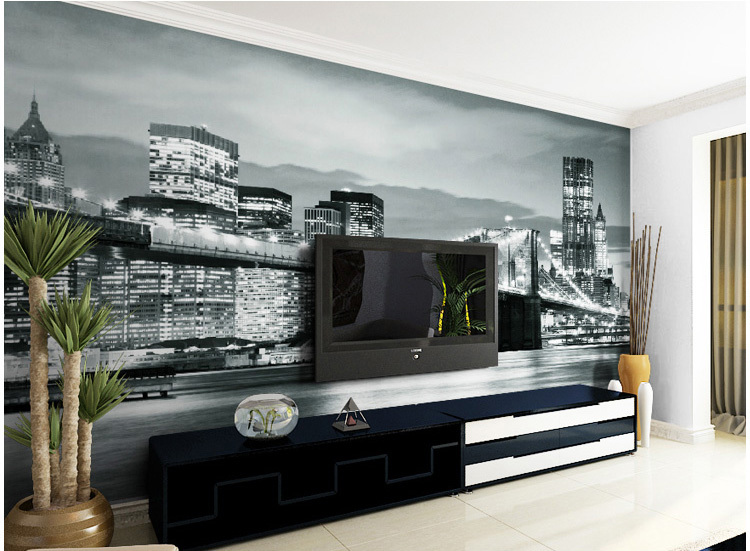 and white new york city street 3d mural wallpaper living room bedroom. Black Bedroom Furniture Sets. Home Design Ideas