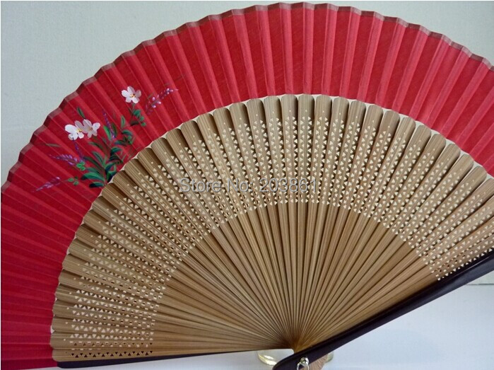 Hand Fan Crafts bamboo Asia Chinese Red Flower silk printing - Berlin Bai Home & Decoration Store store