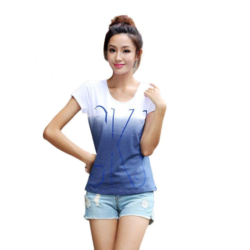 High quality 100 cotton t shirt women short sleeve t shirts o neck Causal loose print