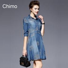 2016 Denim Dress Women Plus Size Half Sleeve Summer Dress Blue Denim Jeans Dress For   Women Ladies Casual Party Dress(China (Mainland))