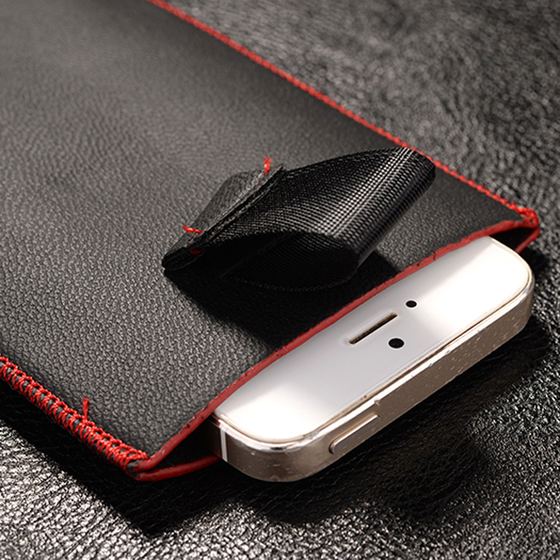 New Red border Top grade Universal Holster skin Waist Leather Pouch Cover Case For Samsung Galaxy Express I8730(China (Mainland))