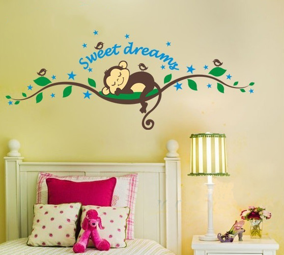 Hot Sales! Sweet Dreams Monkeys Tree Wall Sticker Birds Tree Baby Decals for kids Room Free shipping(China (Mainland))