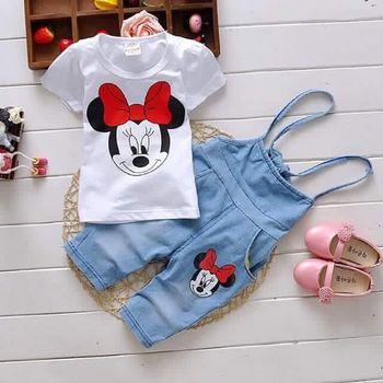 2016 Retail Summer Minnie girls children clothing set t shirts + Bib suits 2 pcs suit girl's dot dress tops Cartoon outfits