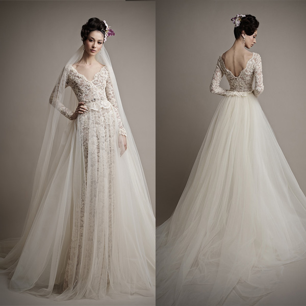 Long Sleeve Lace Wedding Dress With Open Back Long Sleeve Open Back Lace