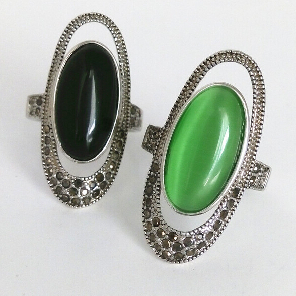 Hot Selling Vintage Jewelry Long Finger Ring White Gold Plated Black And Green Stone Oval Opal Big Rings For Women(China (Mainland))