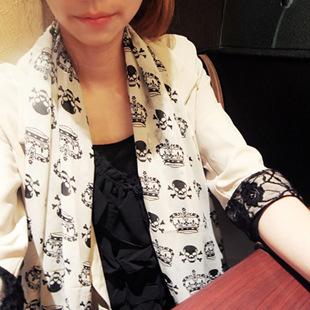Корона + корейский осень и зима женский череп рисунок шифоновый шарф шелковые шарфы корона кито