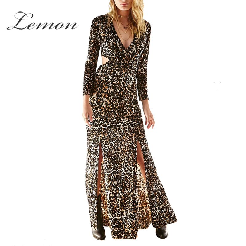 Lemon Fashion Women Side Split Long Sleeve Cut Out Bodycon Dress Deep-V Leopard Sexy Maxi Dress Slim Elegant Party Dress(China (Mainland))