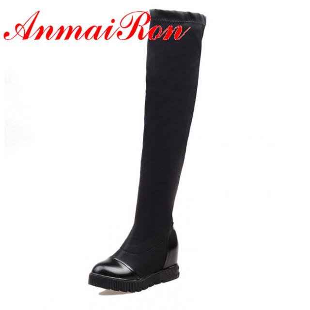 ANMAIRON Большой Размер 34-43 Новые Моды для Женщин Сапоги Круглый Носок сексуальная ...