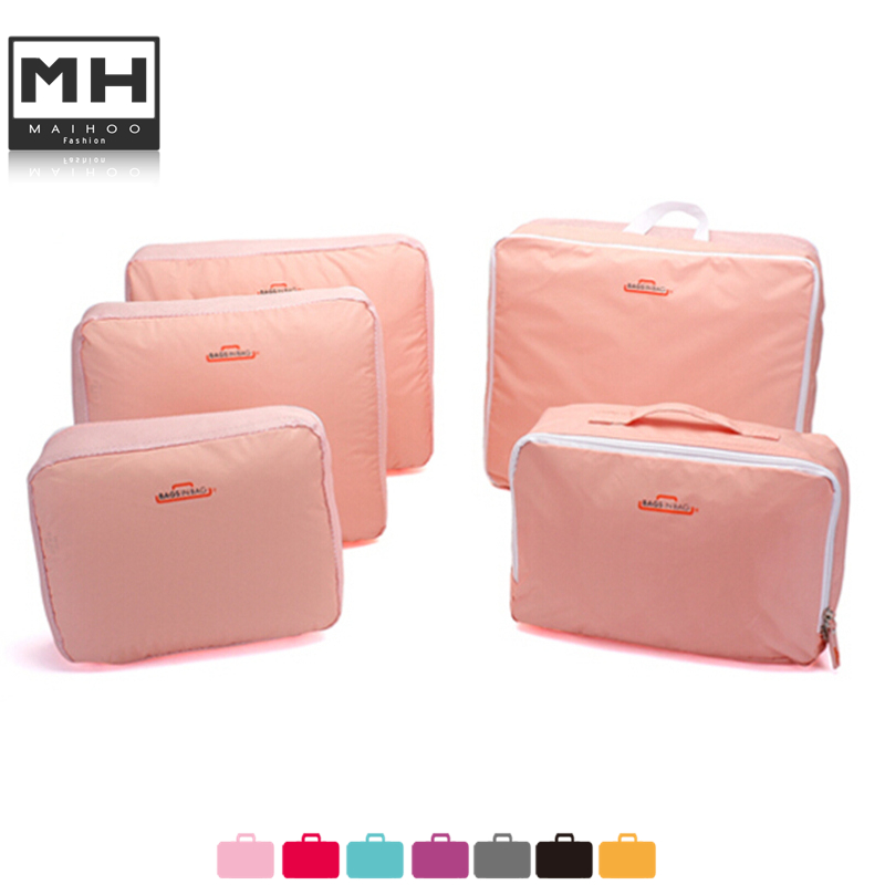 2015 women bag 5 suit Travel Storage Bag Clothes Organizer Pouch Suitcase Handbag Case Red Blue Pink Gray makeup cosmetic bag(China (Mainland))
