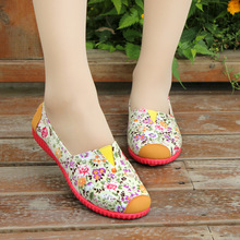 Shipping Free 2016 new brand female cotton shoes casual shoes high quality printing flat female fashion shoes for four seasons