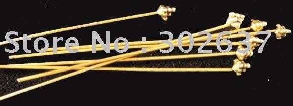 FREE SHIPPING 150pcs Antiqued gold HANDMADE Three Pyramid head pin A654G