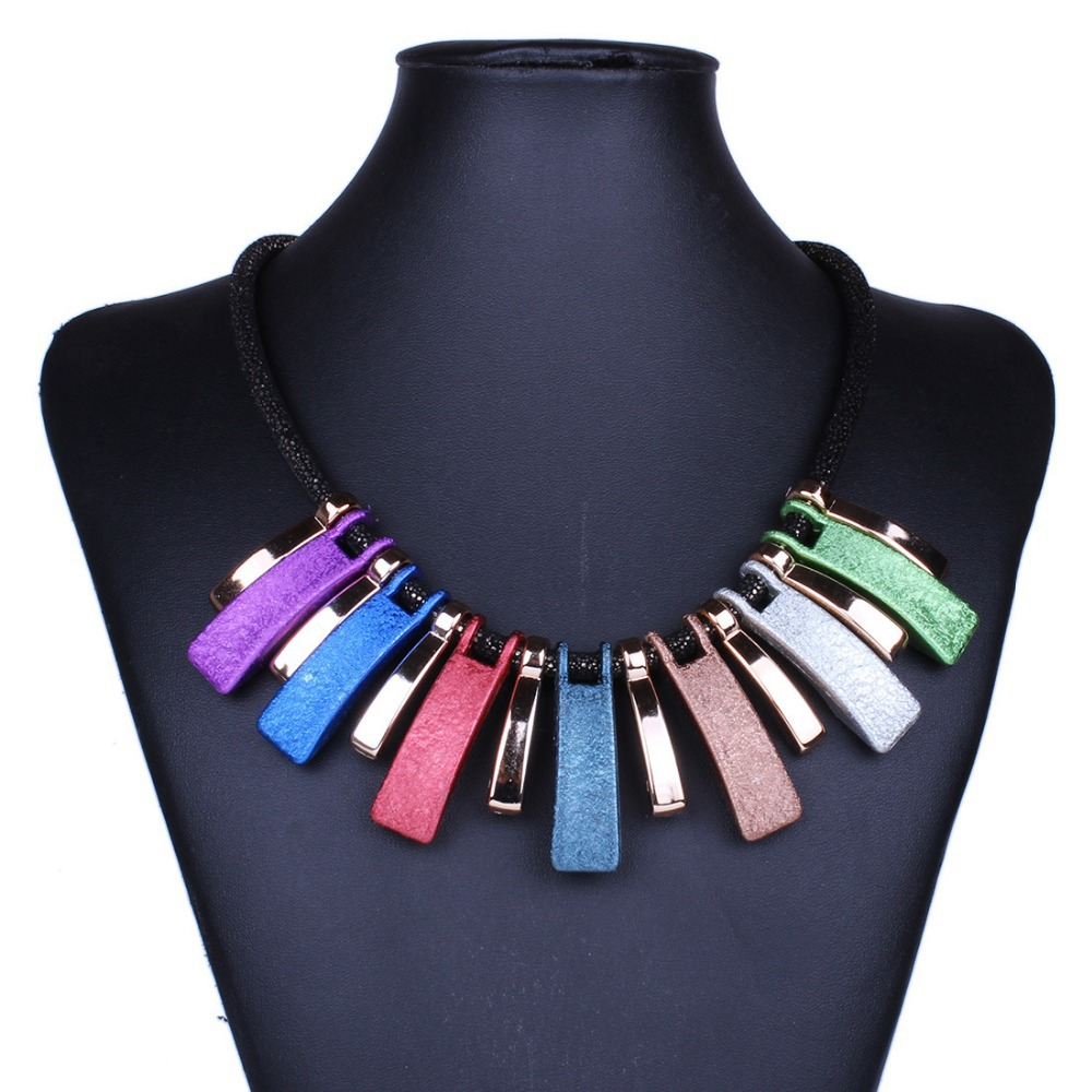 Fashion New Colorful Acrylic Chokers Necklace Women Leather Chain Geometric Pendant Vintage Punk Jewelry - W-Watch store