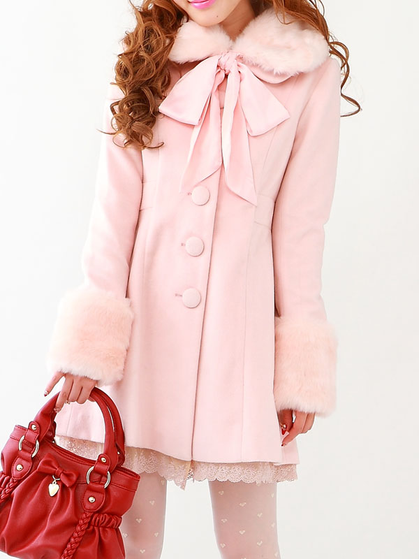 Princess sweet lolita coatNew winter cloth coat lovely Japanese long cloth bow lace coat HT004(China (Mainland))