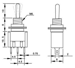Тумблер OEM 102 125VAC 6 3pins/2 SPDT MTS-102