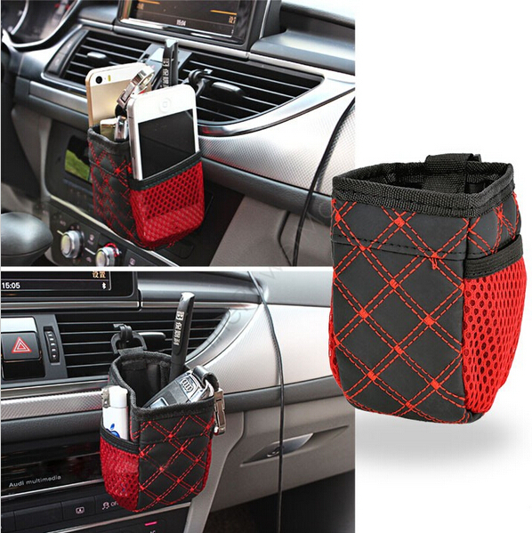 Mini Car Tuyere Grocery Bags Car Bag Cell Phone Pocket Car Pouch Multi-functional Black-Red Car Storage Outlet Free Shipping(China (Mainland))