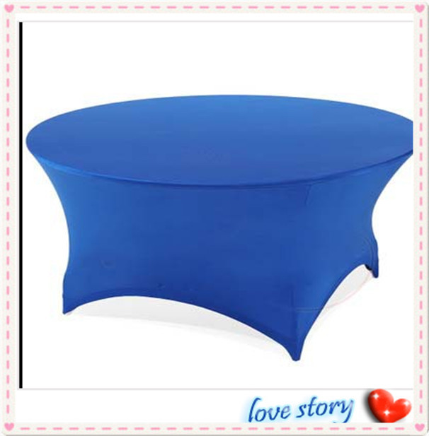 """Big Discount !!!10pcs Blue Spandex Table Cover 72"""" Inch Round FREE SHIPPING(China (Mainland))"""