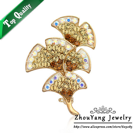 ZYX010 Elegant Peacock Feather 18K Champagne Gold Plated Brooches Jewelry Austrian Crystal  Wholesale