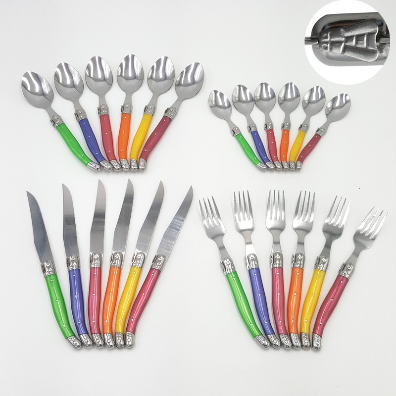 Buy Free shipping Colorful France 24pcs High quality laguiole stainless steel dinnerware/cutlery set tableware& flatware set cheap