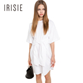 IRISIE Apparel Casual Slim Mini Dress Women Clothing White Elegant Chic Loose Female Vestido Tie Waist