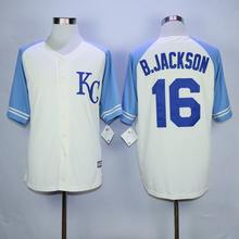 Bo jackson royals jersey authentic #16 Bo Jackson jerseys throwback blue white color size all men's Kansas City Royals Jersey(China (Mainland))