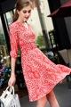 Women Dress Spring summer new arrival 2017 fashion elegant Dress for Women temperament V neck prints