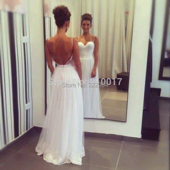 2015 Vestidos Para Casamento Beach Wedding Dresses White Spaghetti Strap Backless Lace Applique Ruched Simple Bridal Gown - magic moment store