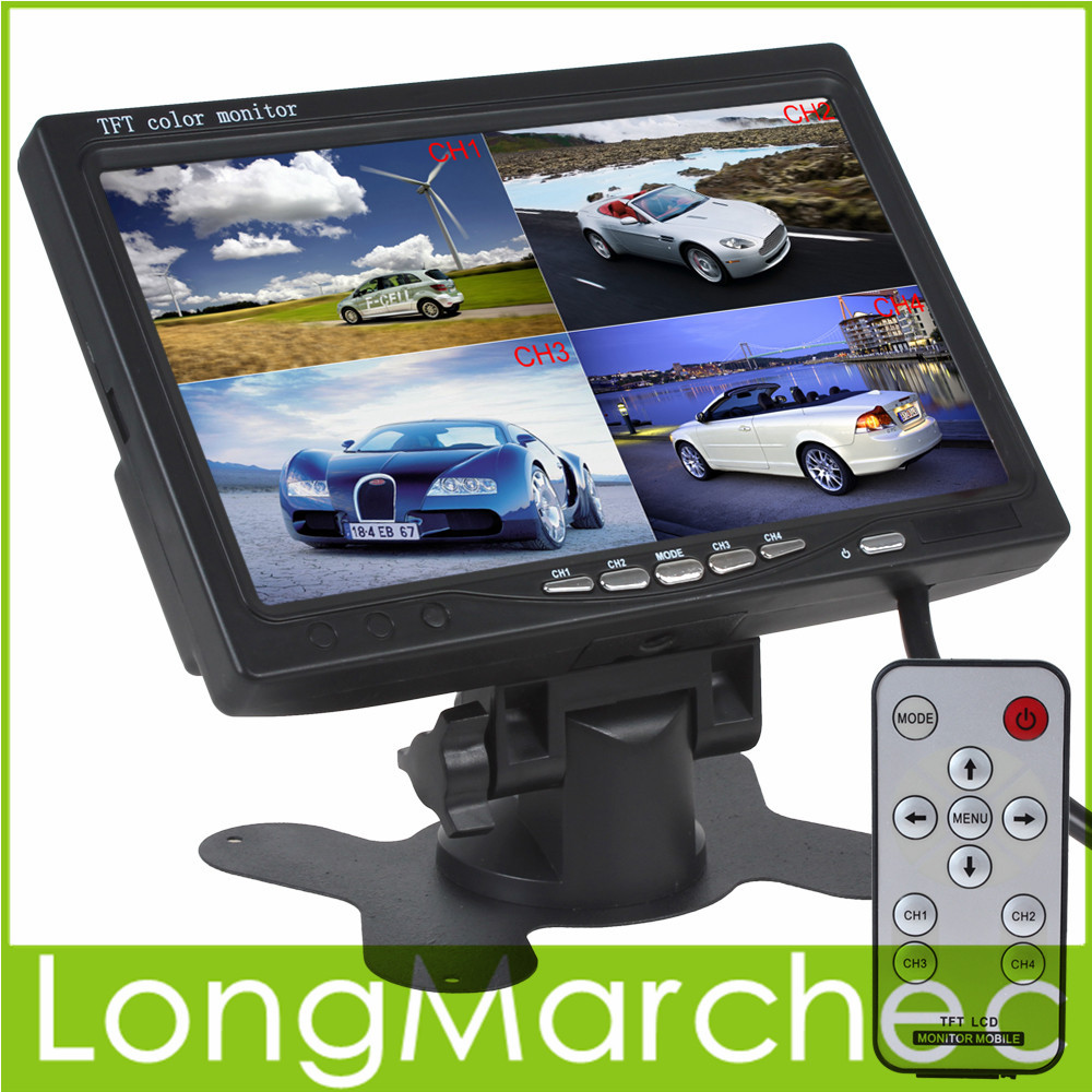 7 Inch TFT LCD Car Monitor Headrest Display Support 4 Split 4Ch Video Input For Rear View Camera DVD GPS With Remote Control(China (Mainland))