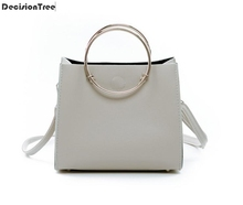 Buy 2017 Summer Fashion Women Composite Bags Solid Leather Messenger Bags Ladies Casual Beach Shoulder Bags Metal Ring Handbag for $8.64 in AliExpress store