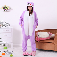 Adult Women violet color cute bunny Judy Onesies Costume Animal Cosplay Pajamas Pyjamas Halloween COS Men polar fleece Sleepwear