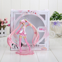 "New Retail  6"" Vocaloid Hatsune Miku Sakura Pink Ver. 1/10 Scale Figure Boxed Model Building Kits Toy(China (Mainland))"