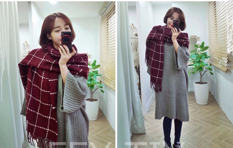 Autumn and winter scarves wool scarves autumn and winter plaid couple scarf xy-00587