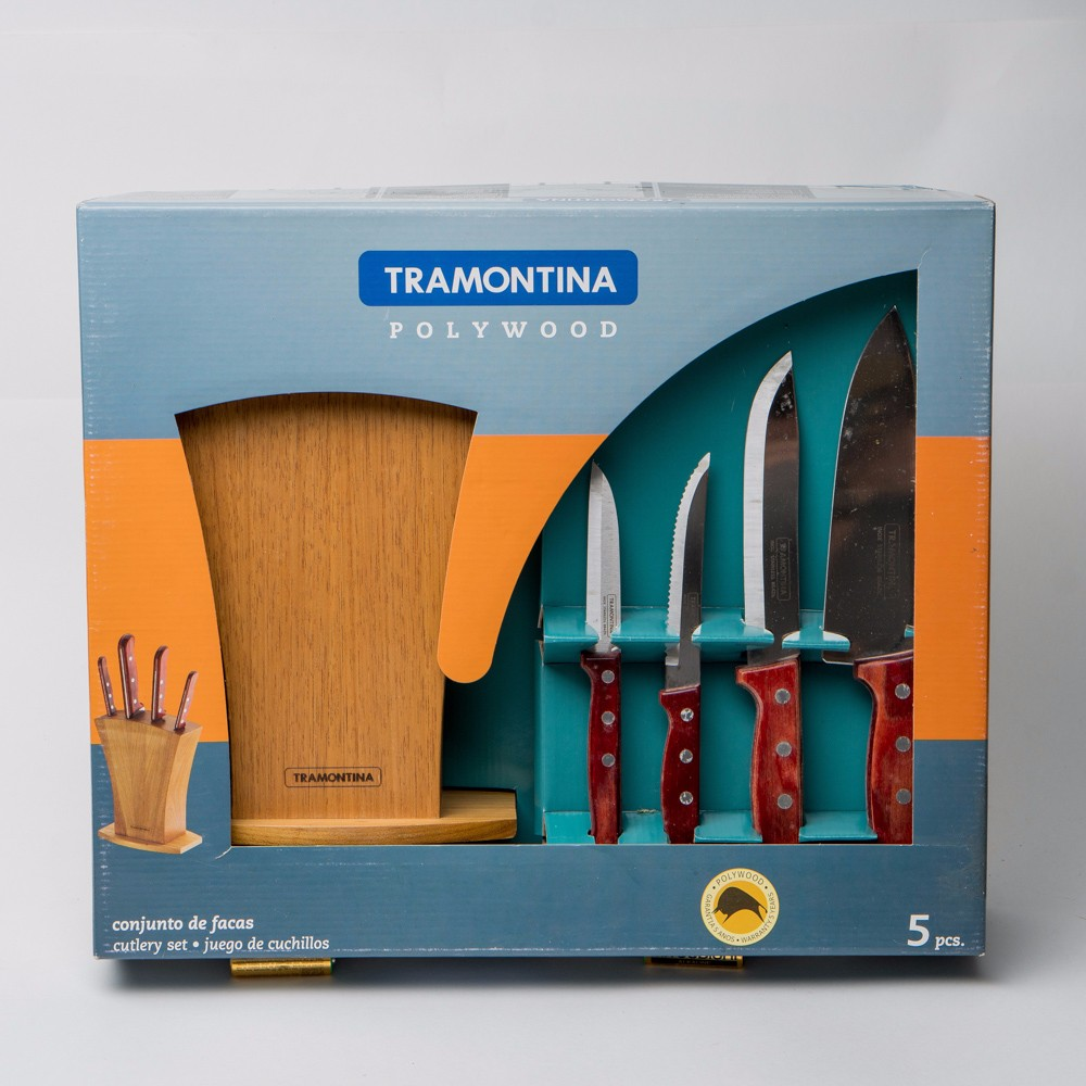 Buy Knife Set TRAMONTINA POLYWOOD on stand 5 21199/767 of stainless steel knives, discount sales watch thermos 870205 cheap